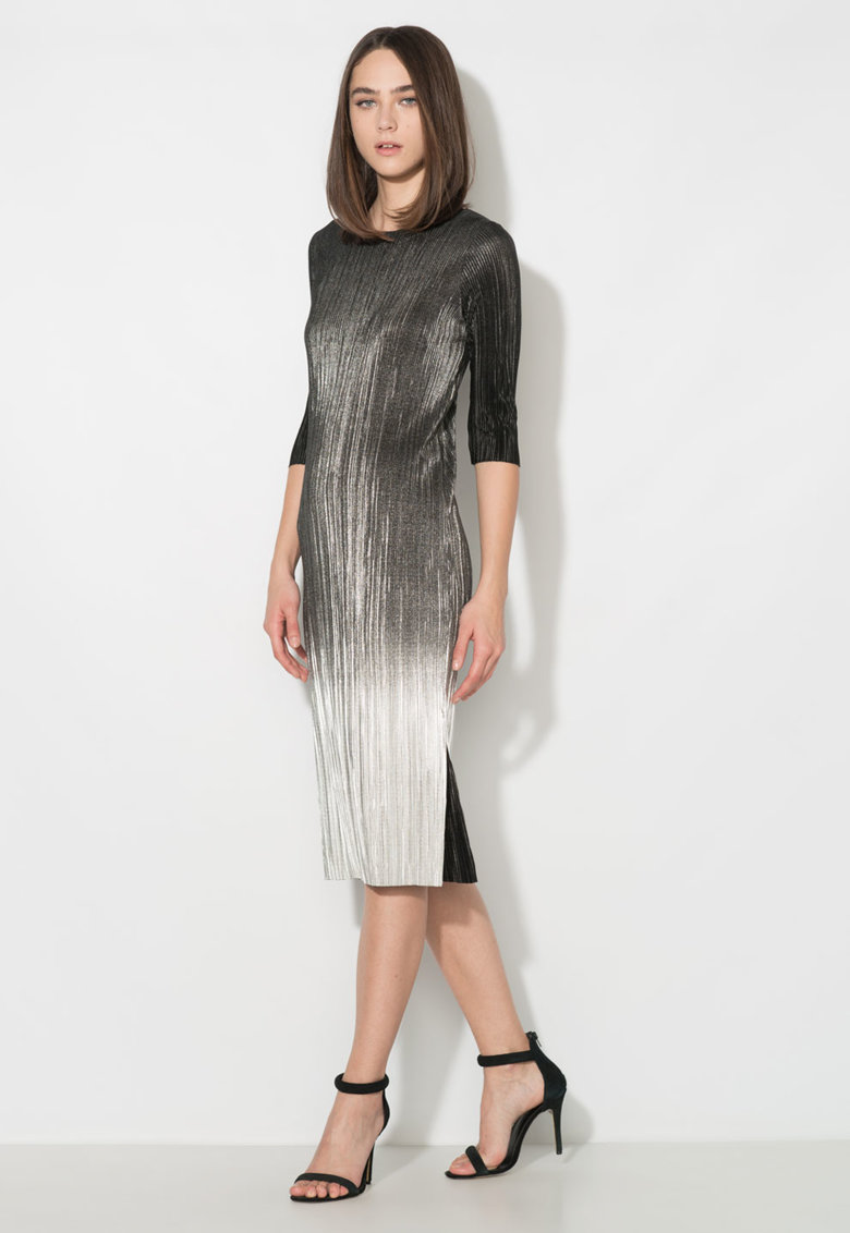Zee Lane Collection Rochie negru cu argintiu si slituri laterale