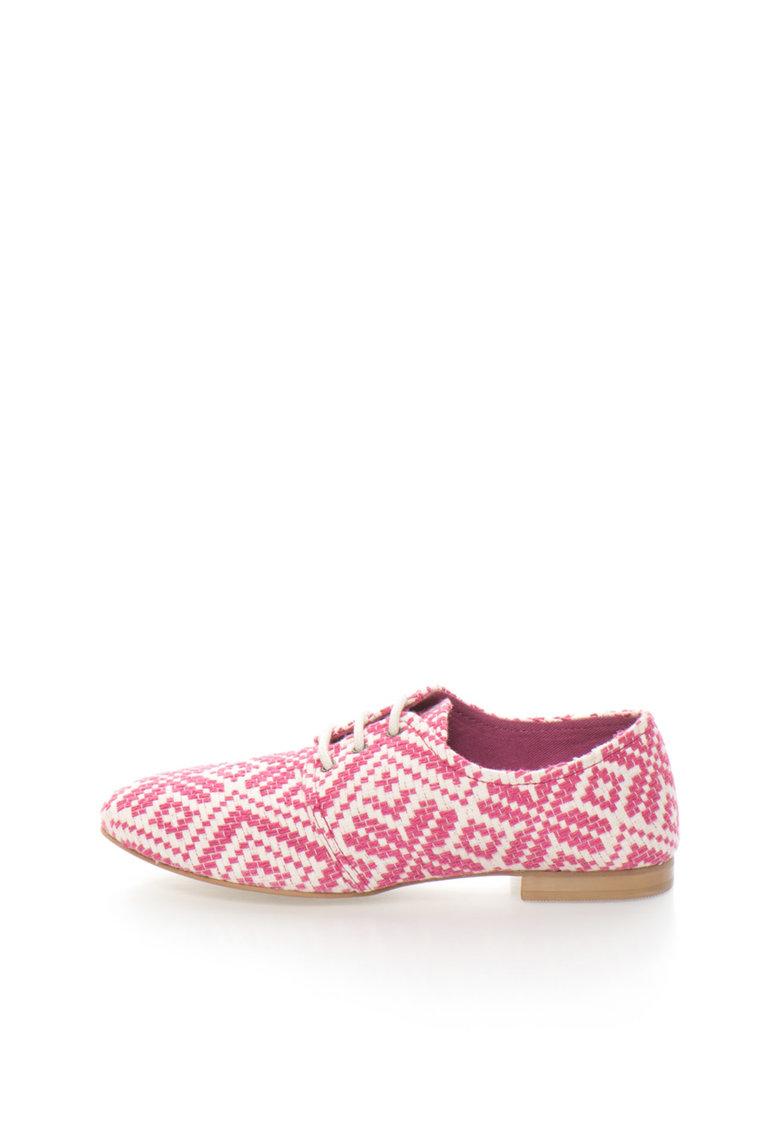 United Colors Of Benetton Pantofi roz cu alb si model oriental tesut