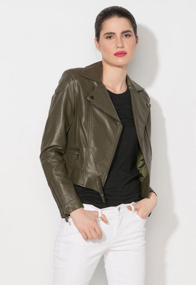 Jacheta verde militar de piele sintetica