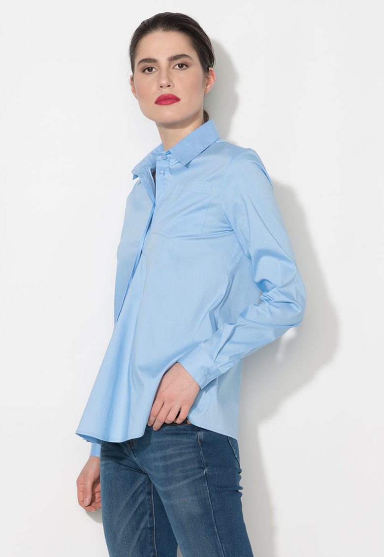 Zee Lane Denim Camasa albastra cu buzunar pe piept