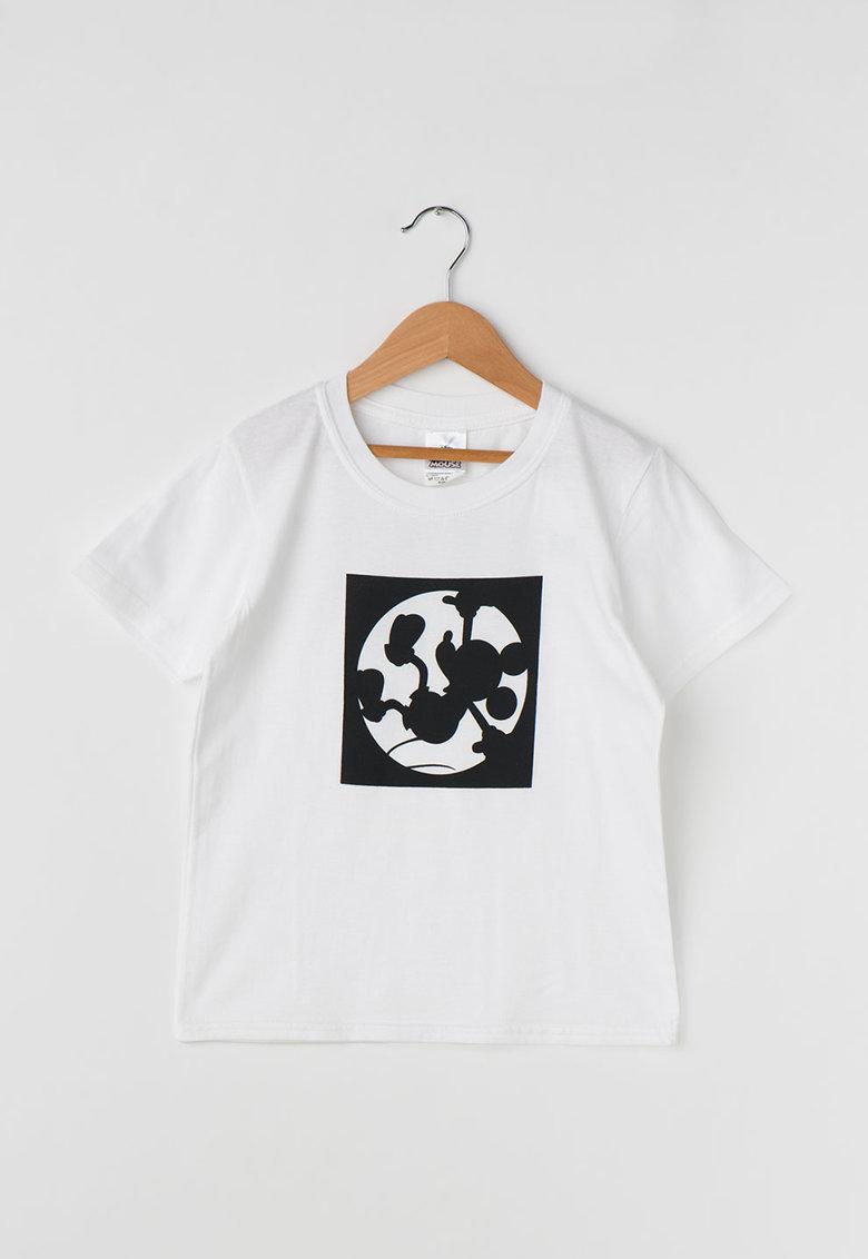 Disney Tricou alb cu imprimeu negru Mickey