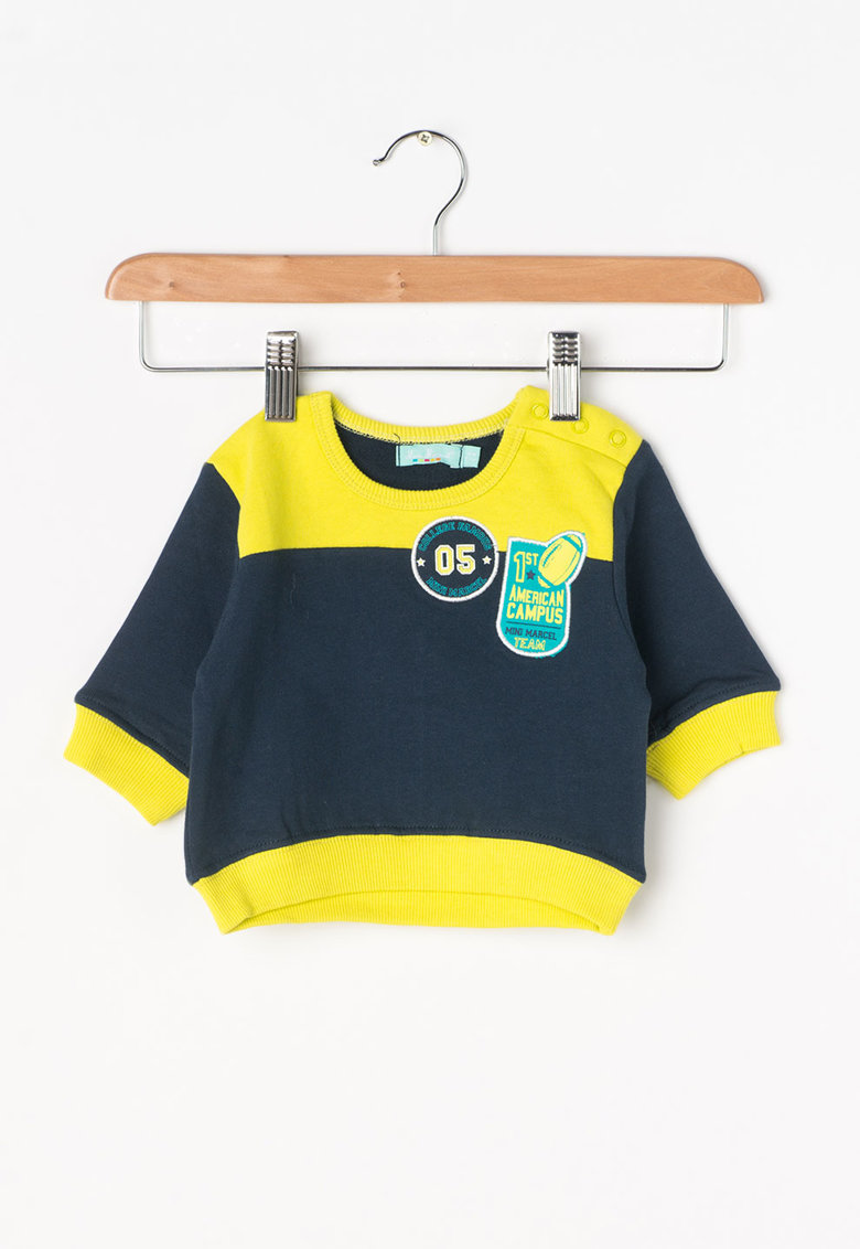 Little Marcel Bluza sport bleumarin cu verde chartreuse Somilo