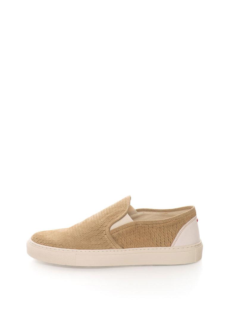 Zee Lane Pantofi slip-on maro nisip de piele intoarsa