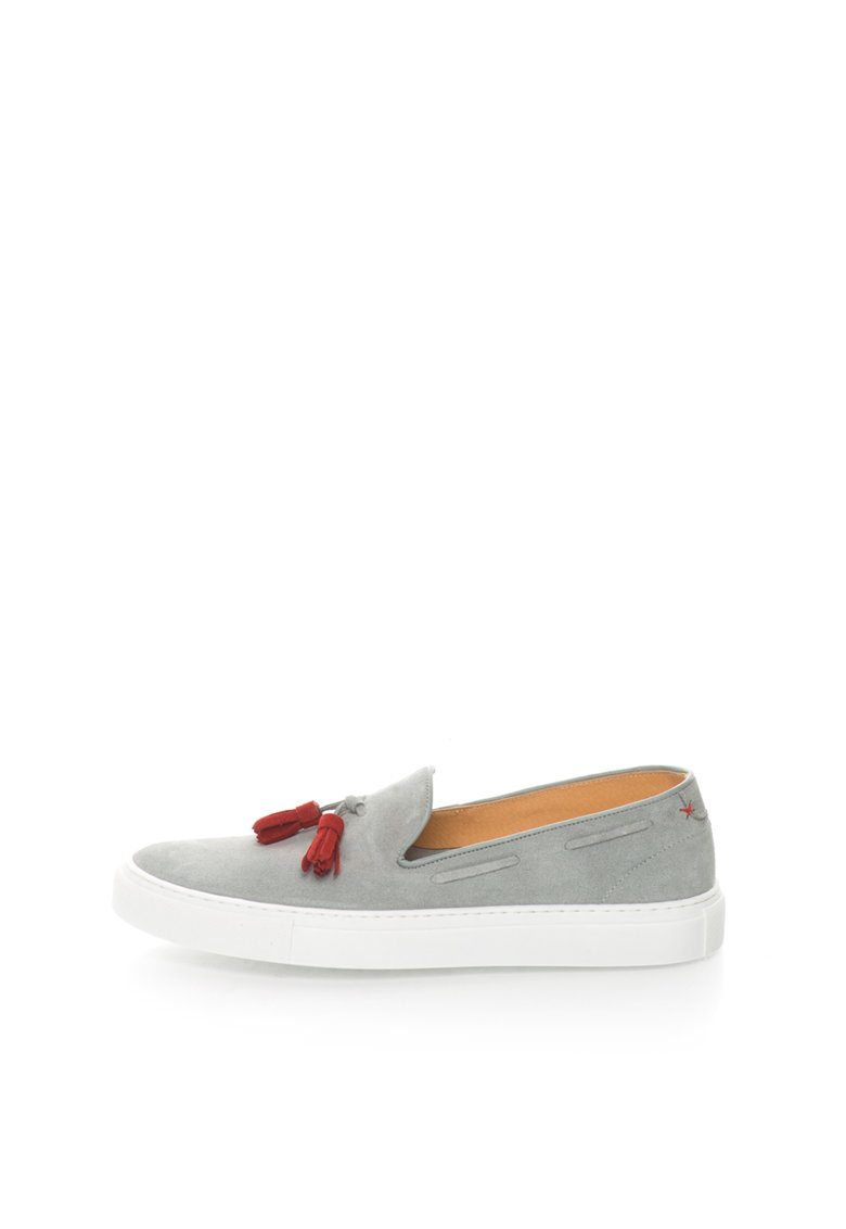Zee Lane Pantofi slip-on gri de piele intoarsa cu canafi