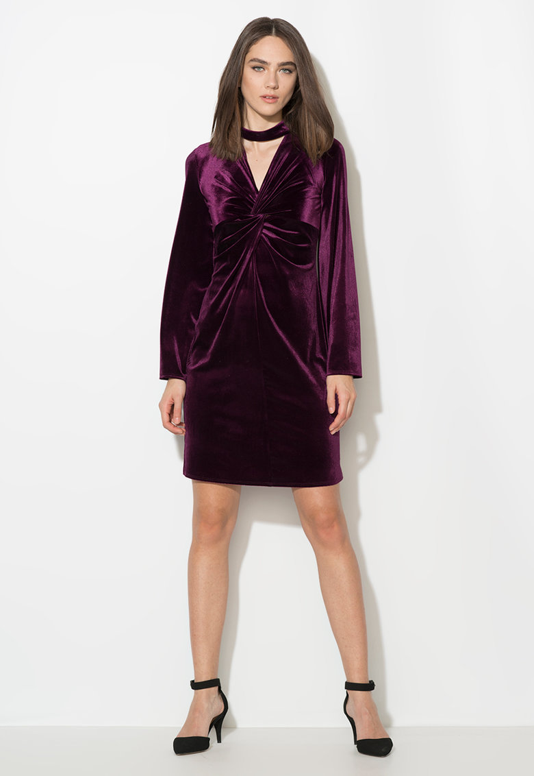 Rochie violet tyrian catifelata de la Zee Lane Collection