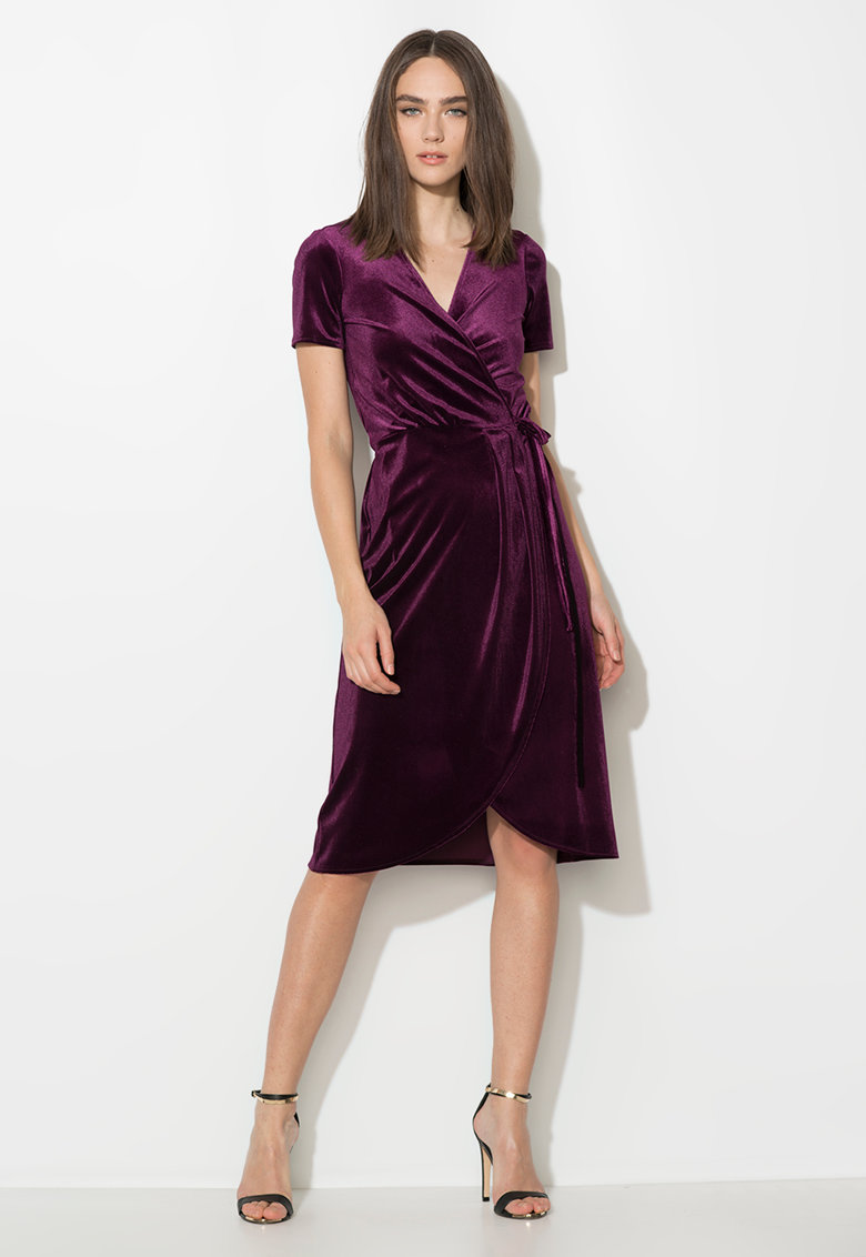 Zee Lane Collection Rochie violet tyrian petrecuta si catifelata