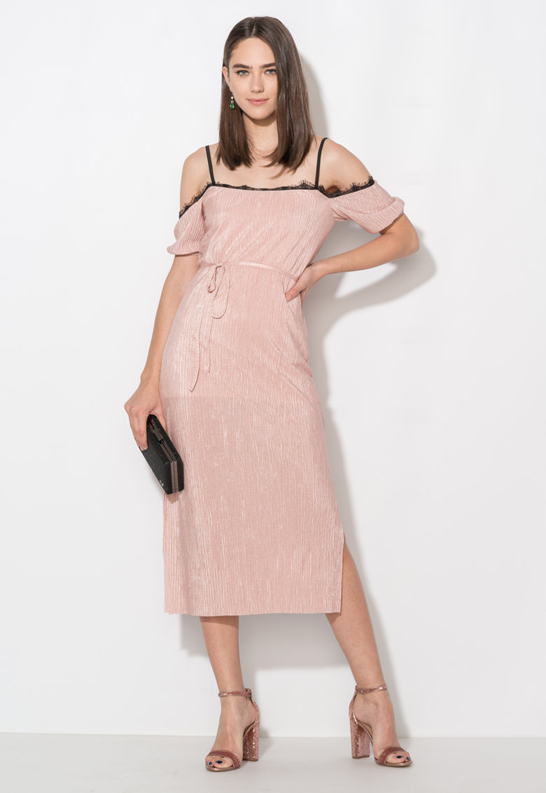 Zee Lane Collection Rochie roz prafuit cu decolteu pe umeri