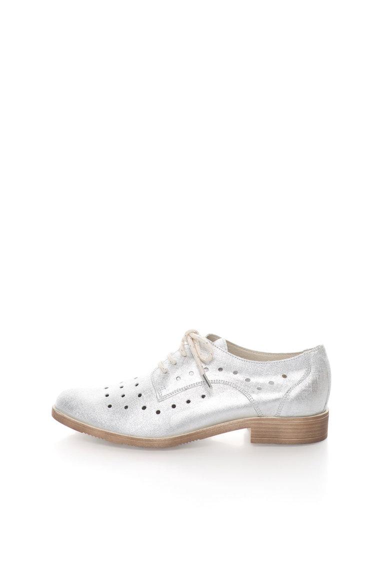Zee Lane Collection Pantofi argintii de piele cu perforatii
