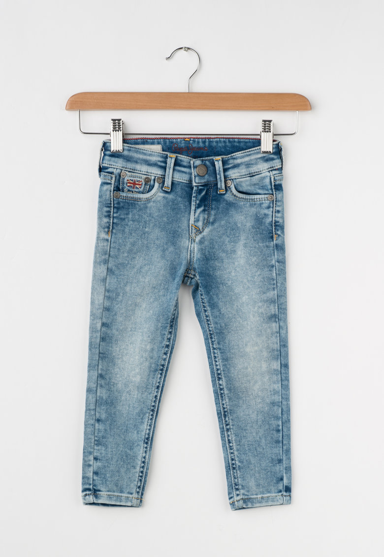Pepe Jeans London Jeansi skinny albastri cu aspect decolorat Snicker