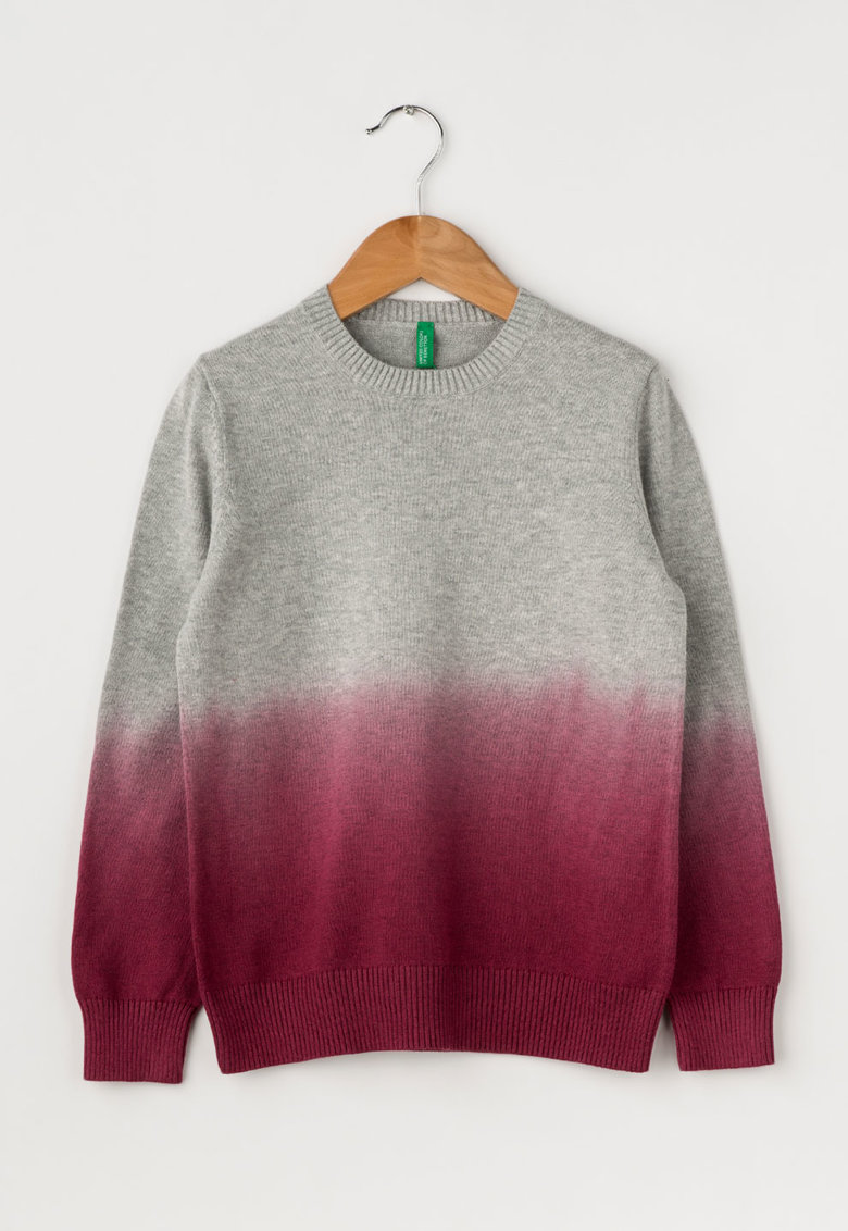 Pulover gri melange cu rosu Bordeaux in degrade de la United Colors Of Benetton