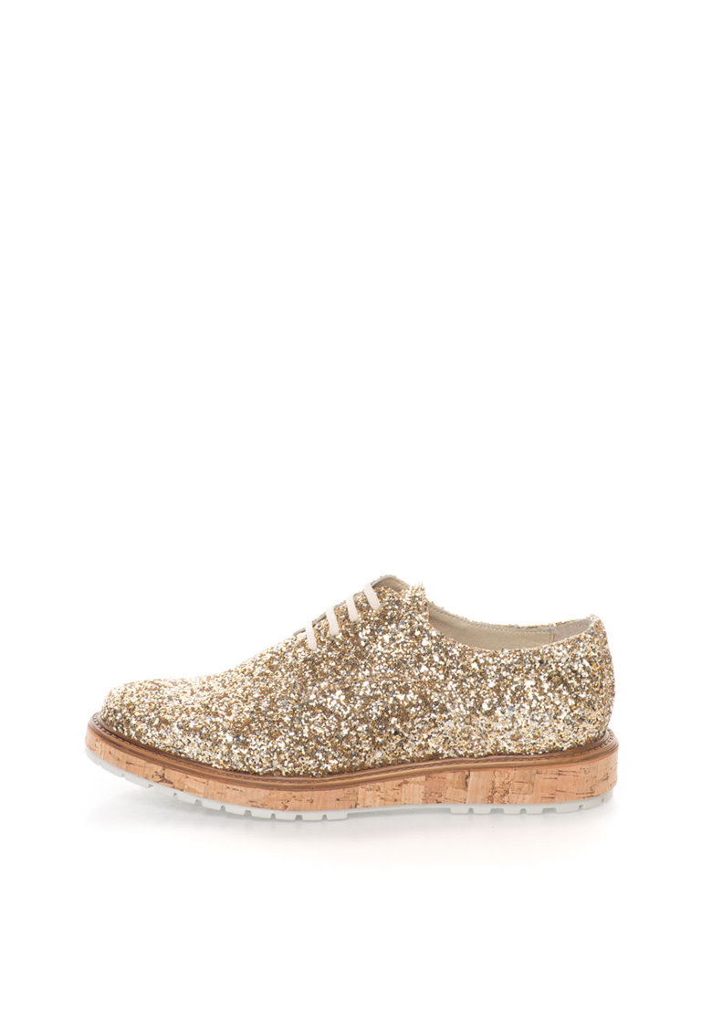 Zee Lane Collection Pantofi aurii cu paiete si talpa de pluta