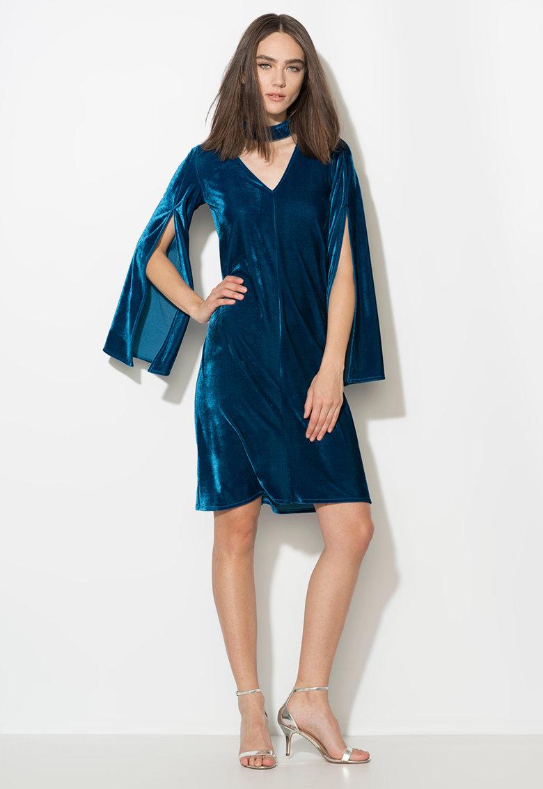 Zee Lane Collection Rochie albastru paun catifelata cu maneci evazate