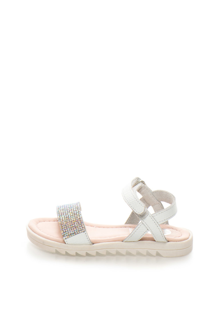 Sandale albe de piele cu strasuri Tiara