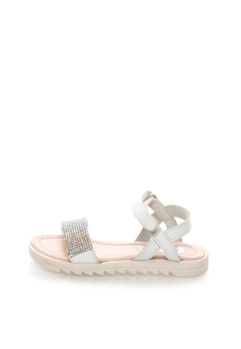 Gioseppo Sandale albe de piele cu strasuri Tiara