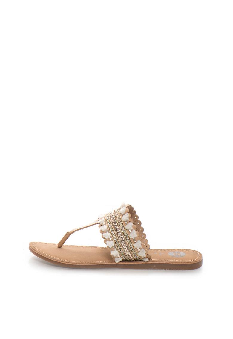 Gioseppo Papuci flip-flop maro de piele cu decoratiuni Sayani