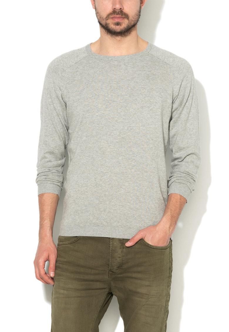 JackJones Pulover gri deschis melange tricotat fin Gio