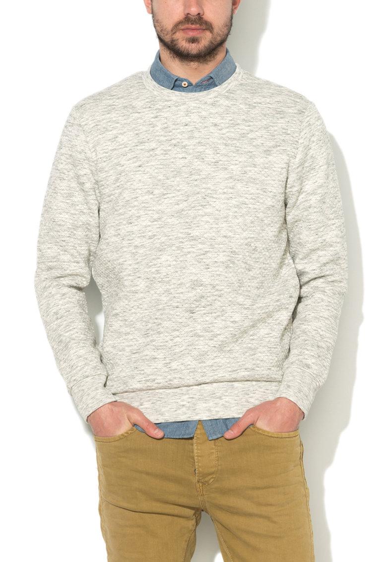 JackJones Bluza sport alb cu nuante de gri matlasata Wall