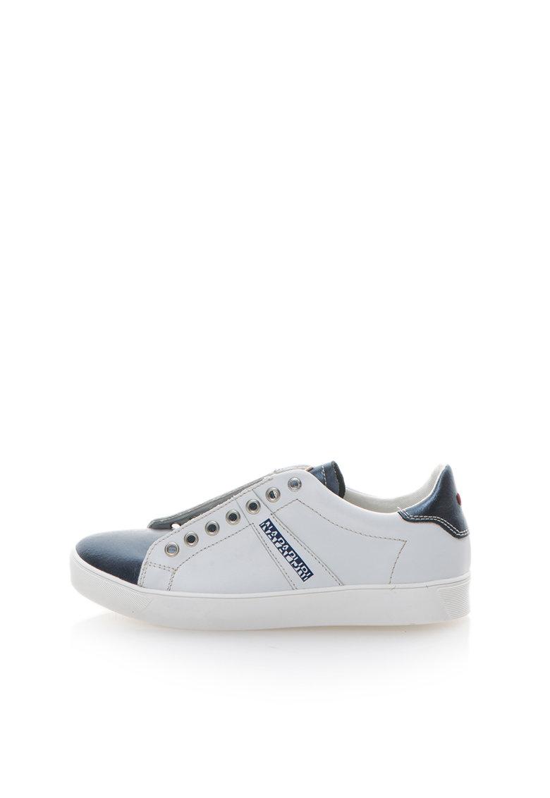 Pantofi slip-on alb cu albastru metalizat de piele Minna