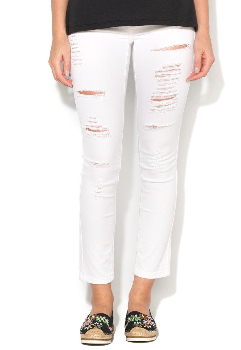 Silvian Heach Collection Jeansi crop albi cu aspect deteriorat Britney