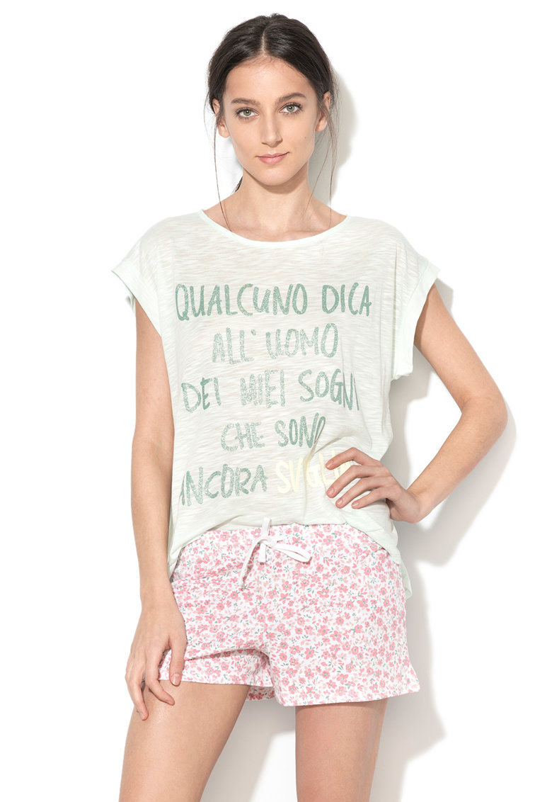 Undercolors of Benetton Tricou de casa verde deschis melange cu imprimeu text