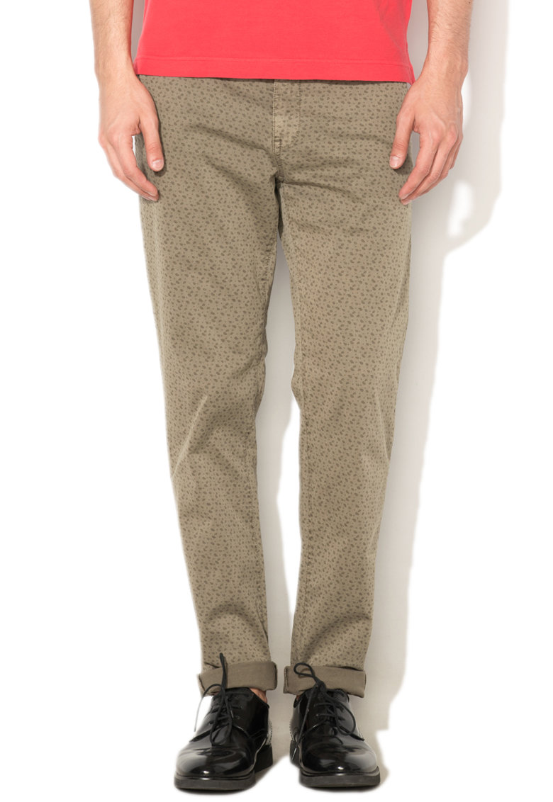 Pantaloni chino slim fit verde militar cu model paisley