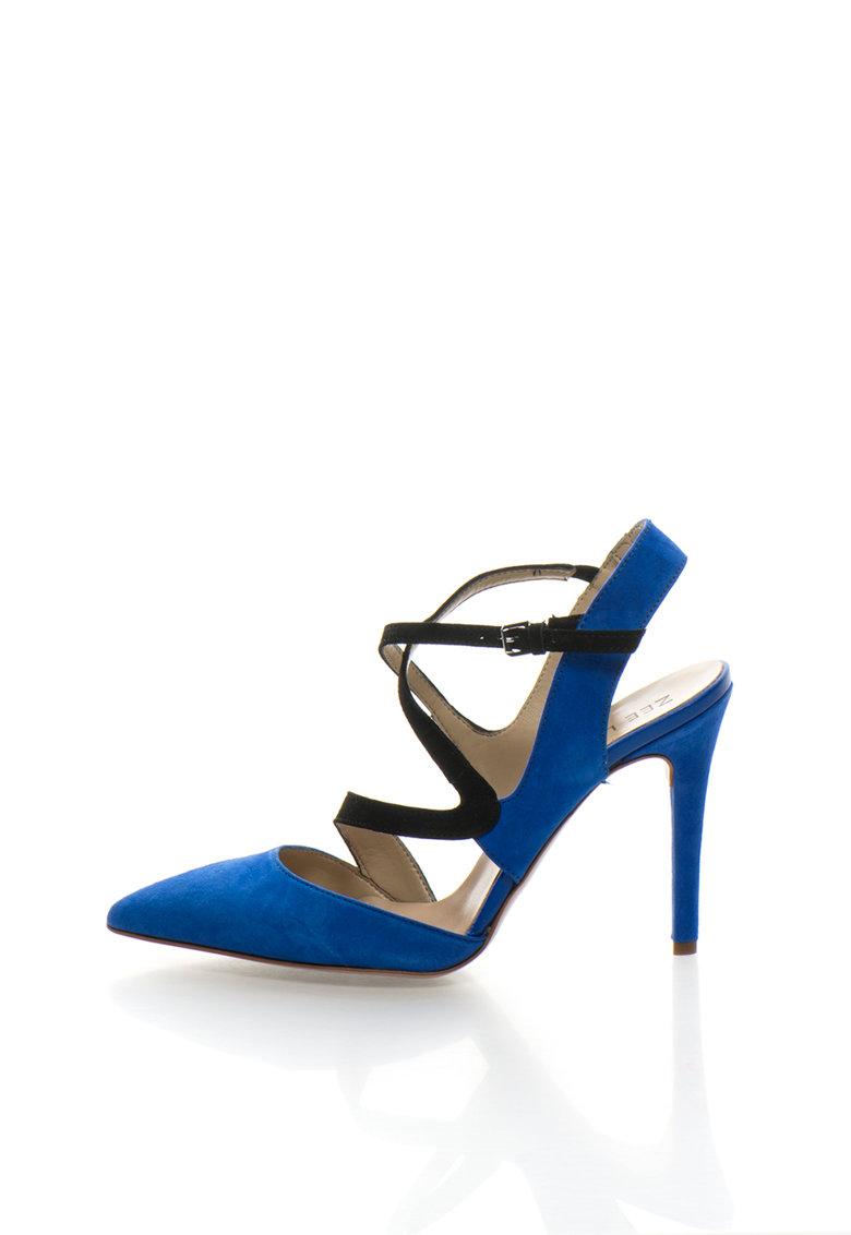 Zee Lane Pantofi slingback albastru royal cu negru de piele intoarsa
