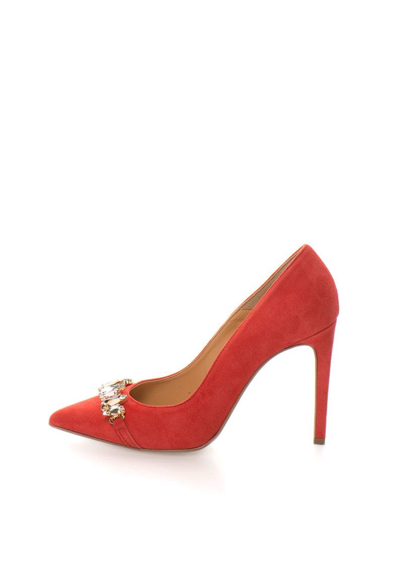 Pantofi stiletto rosii de piele intoarsa cu strasuri