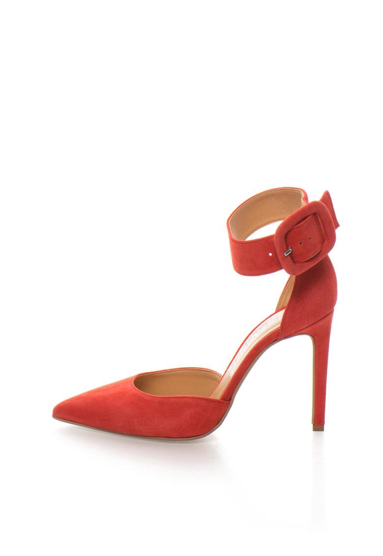 Zee Lane Collection Pantofi d`Orsay rosii de piele intoarsa cu bareta pe glezna