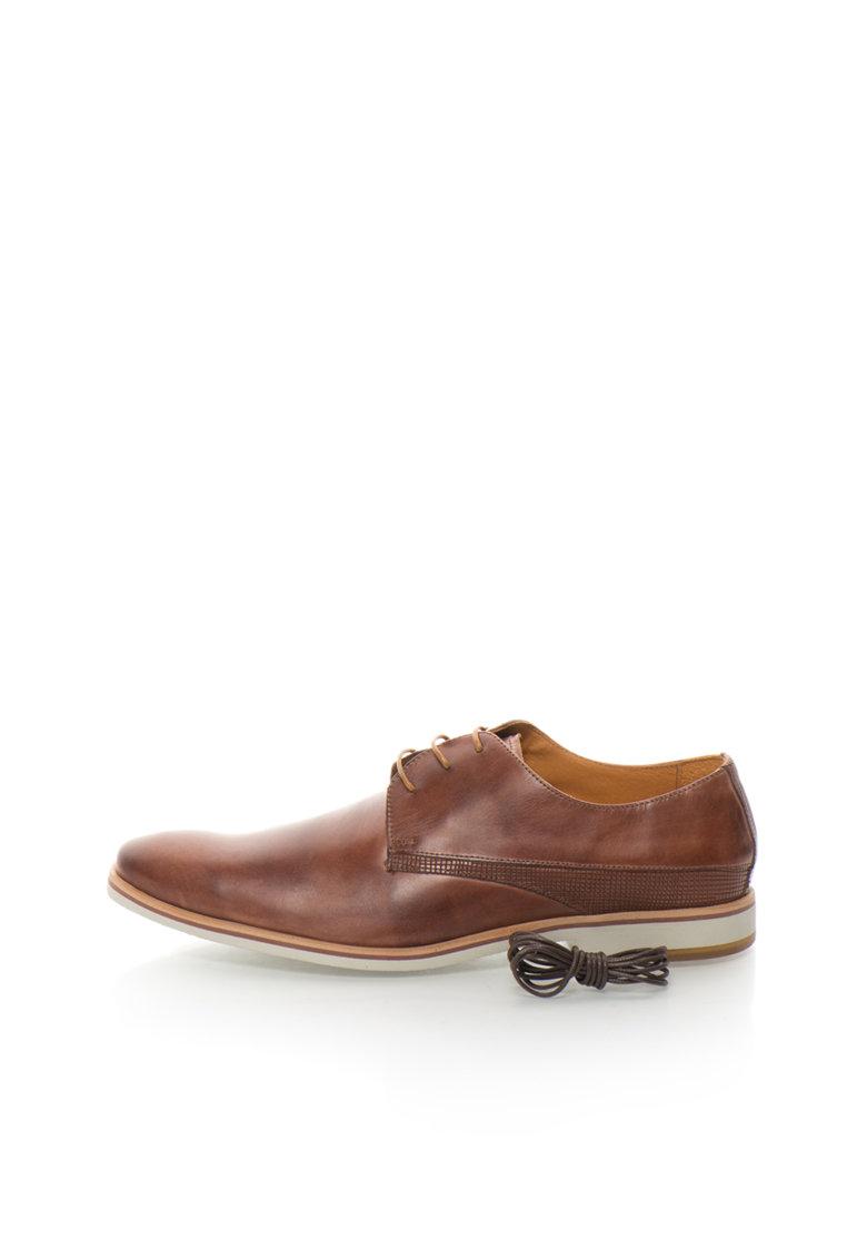 Pantofi derby maro de piele de la Zee Lane Collection