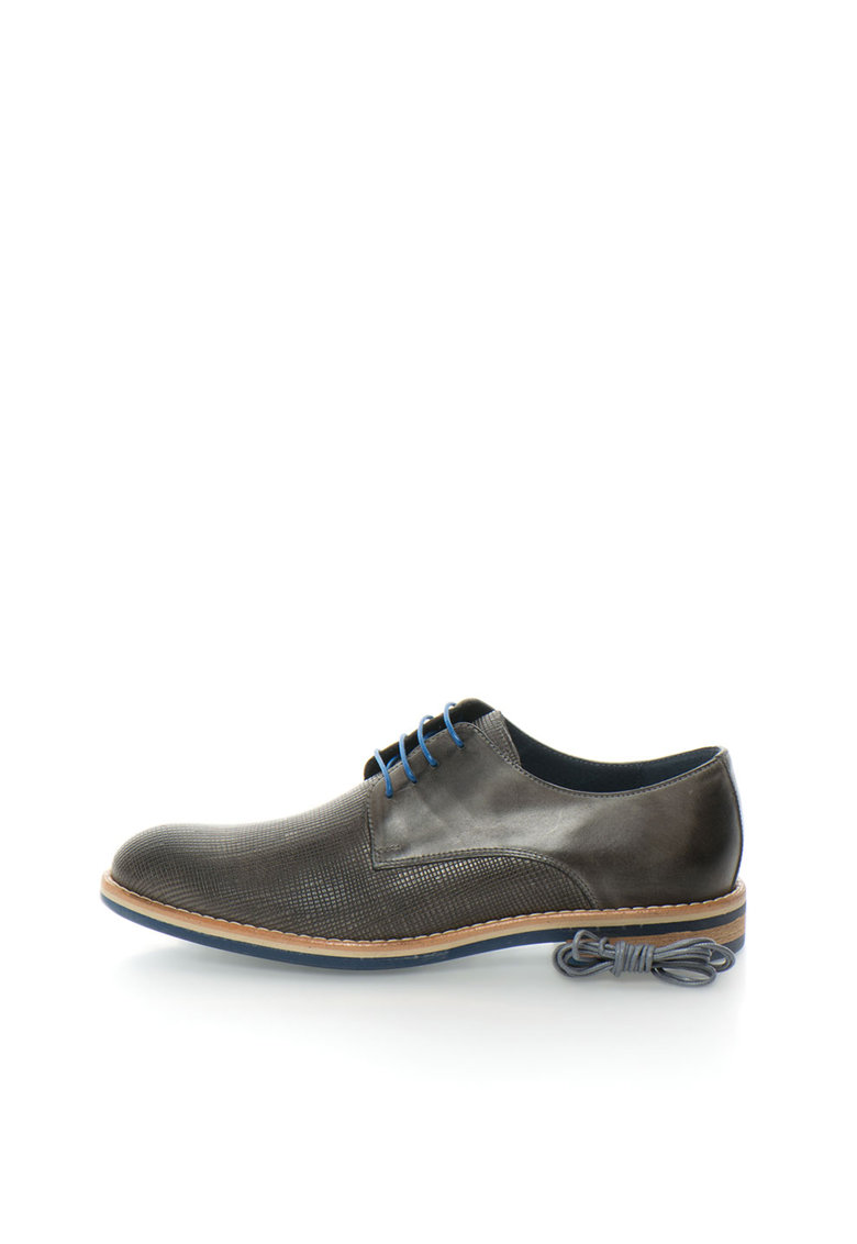 Zee Lane Collection Pantofi derby gri de piele cu detalii texturate
