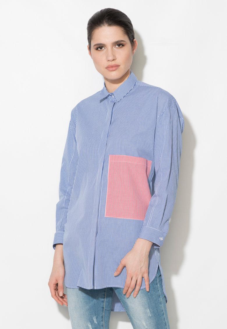 Zee Lane Denim Camasa albastru cu alb cu buzunar supradimensionat pe piept