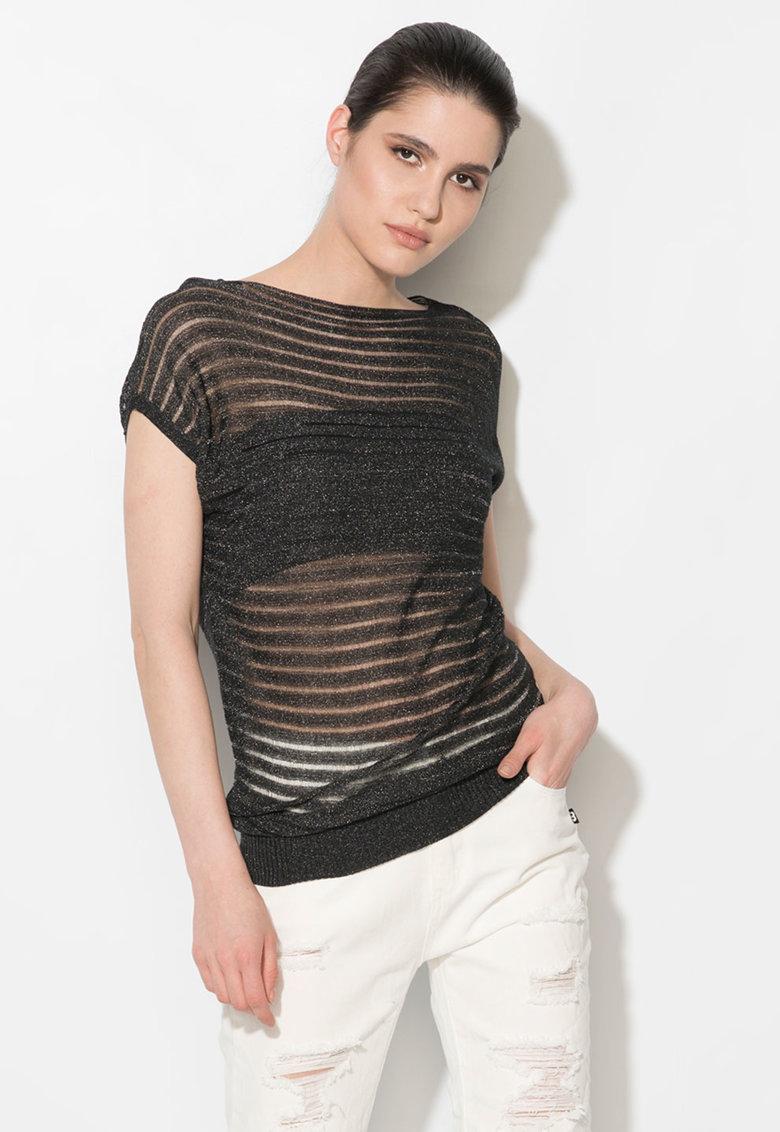 Zee Lane Denim Bluza neagra transparenta tricotata fin
