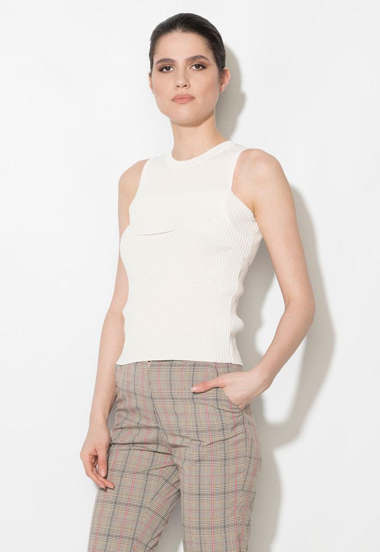 Zee Lane Denim Top alb tricotat cu detaliu suprapus