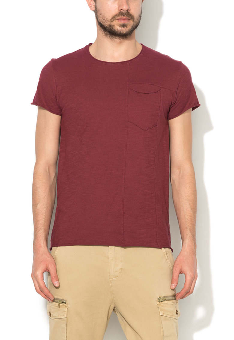 Zee Lane Denim Tricou Bordeaux cu margini franjurate