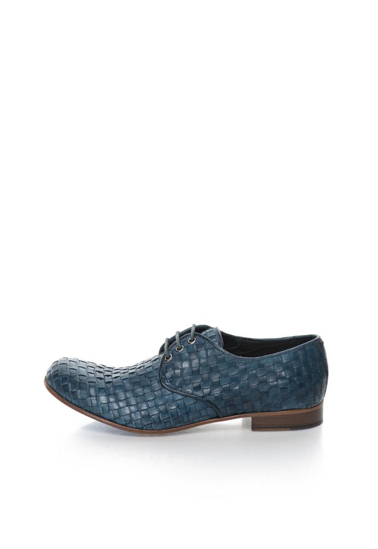 Zee Lane Collection Pantofi albastri de piele cu design tesut Papua