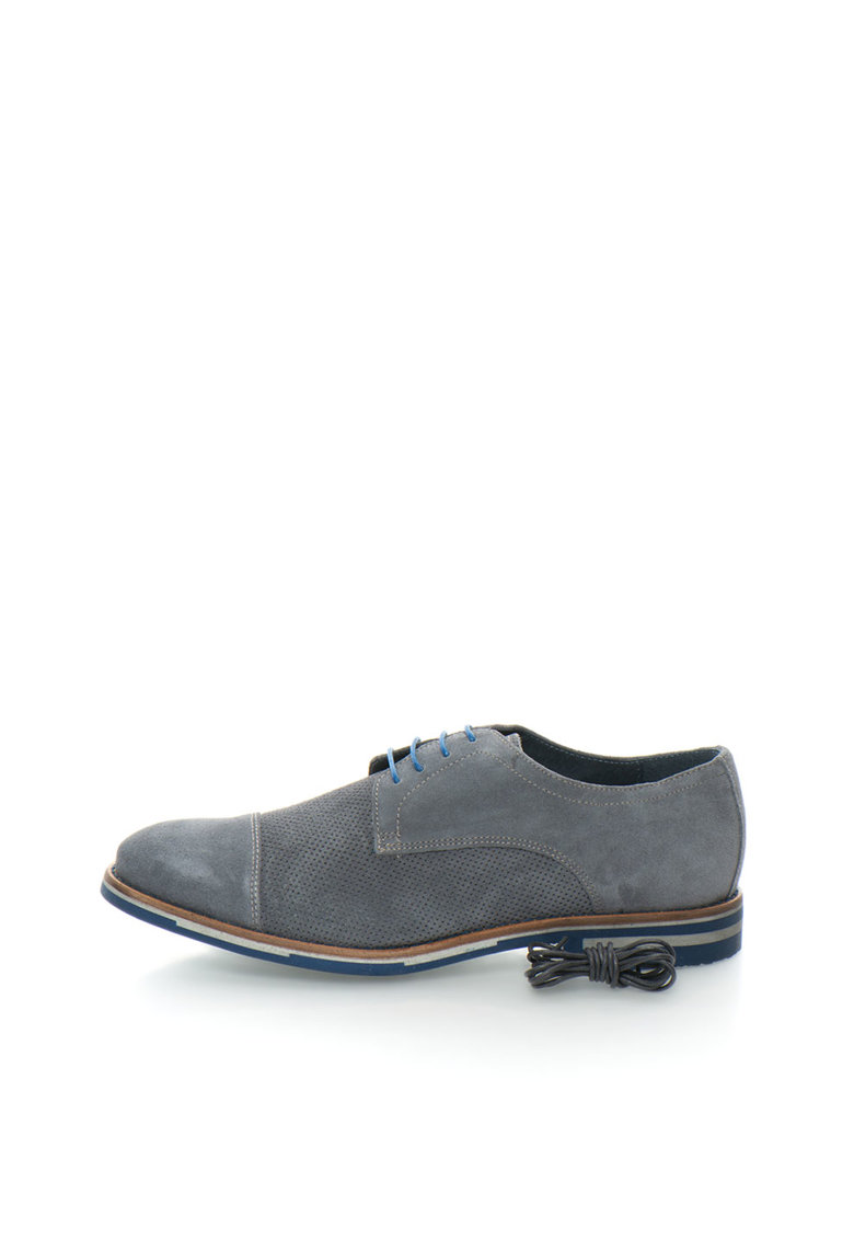 Pantofi derby gri cu detalii discrete perforate