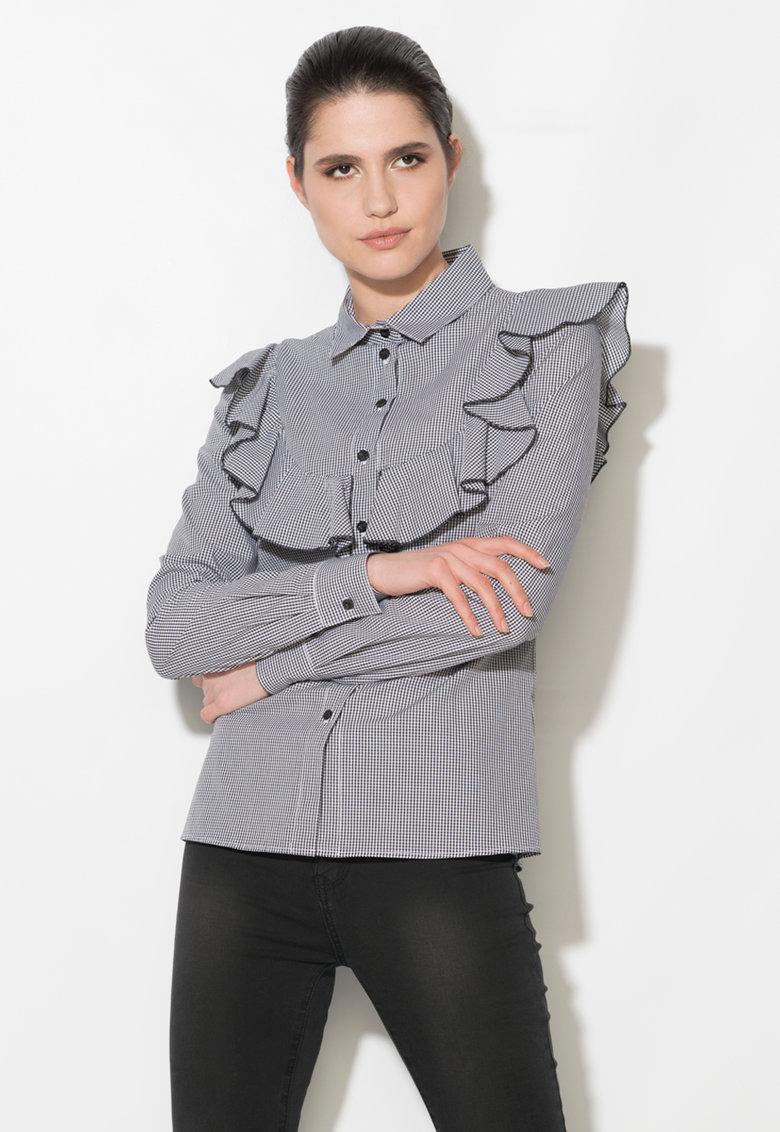 Zee Lane Denim Camasa negru cu alb cu model gingham