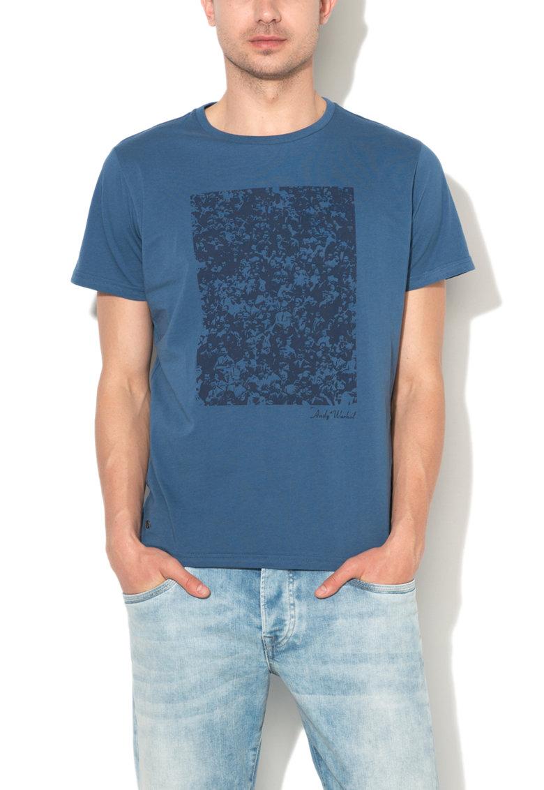 Andy Warhol by Pepe Jeans Tricou albastru cu imprimeu grafic Rally