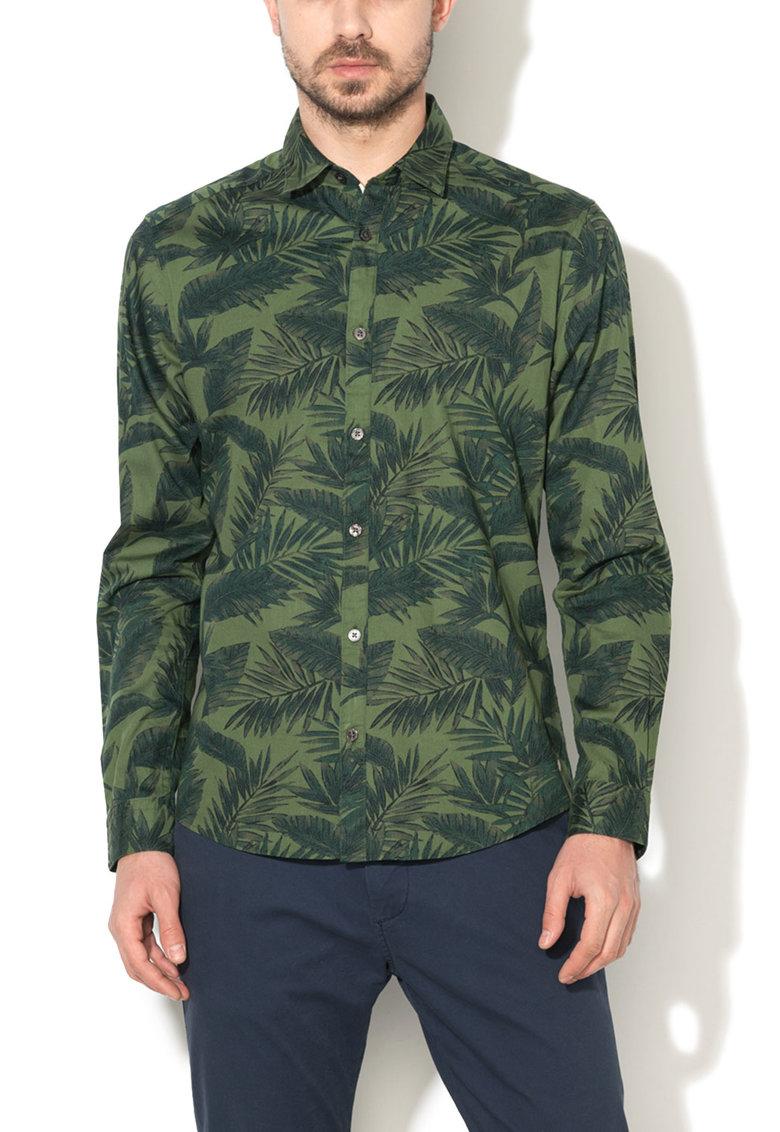 Esprit Camasa slim fit verde avocado cu frunze imprimate