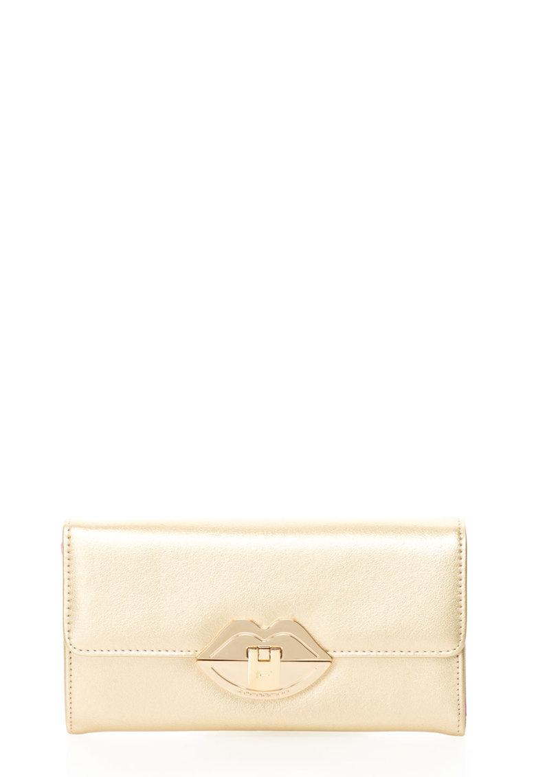 Fornarina Portofel tip geanta plic auriu texturat