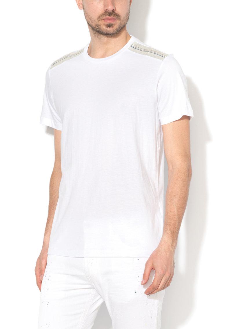 Tricou alb cu insertii de denim Gulle