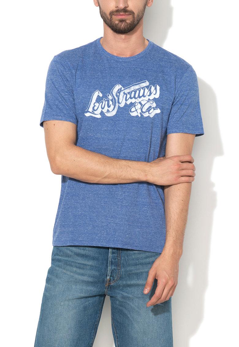 Levis Tricou albastru lavanda melange cu imprimeu logo