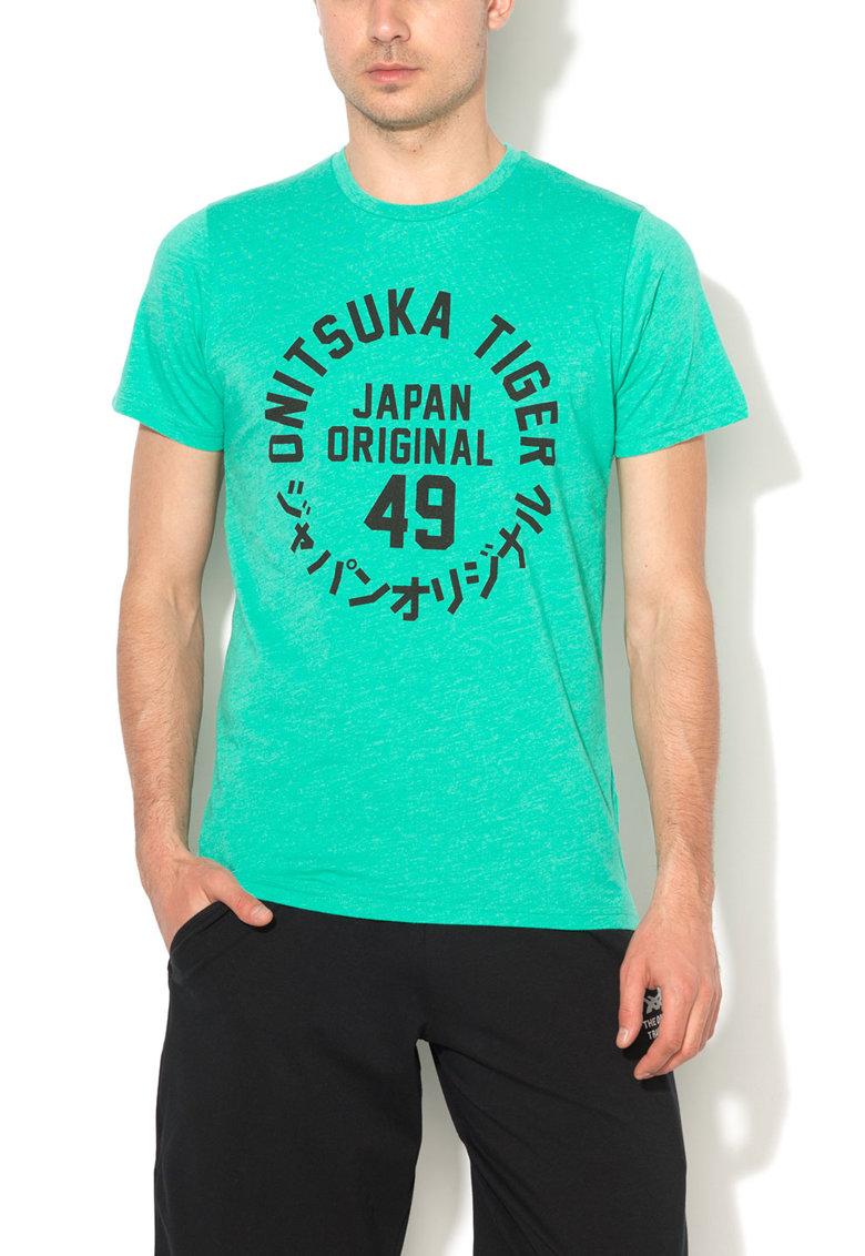 Onitsuka Tiger Tricou verde melange cu imprimeu