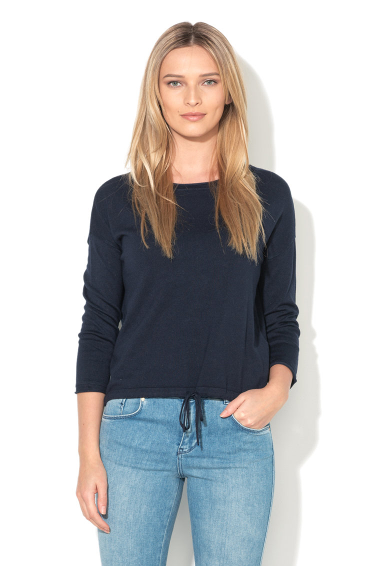 Vero Moda Bluza bleumarin tricotata fin cu snur la terminatie Glory