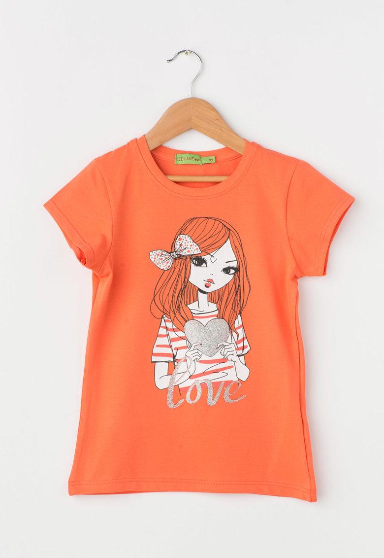 Zee Lane Kids Tricou oranj mandarina cu imprimeu frontal