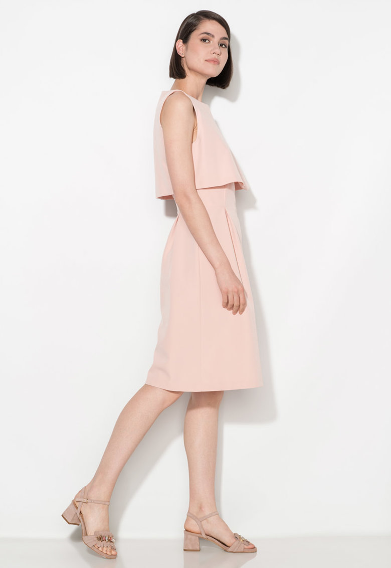 Zee Lane Collection Rochie roz deschis evazata cu detaliu suprapus