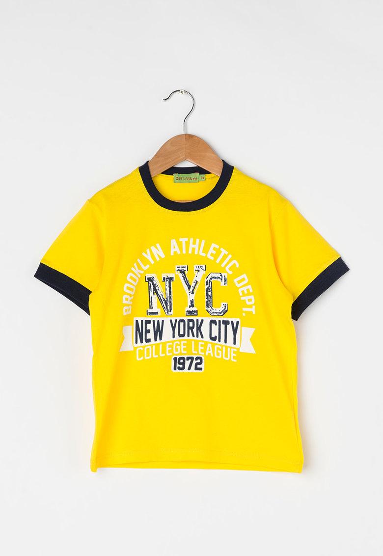 Zee Lane Kids Tricou galben si bleumarin inchis cu imprimeu grafic