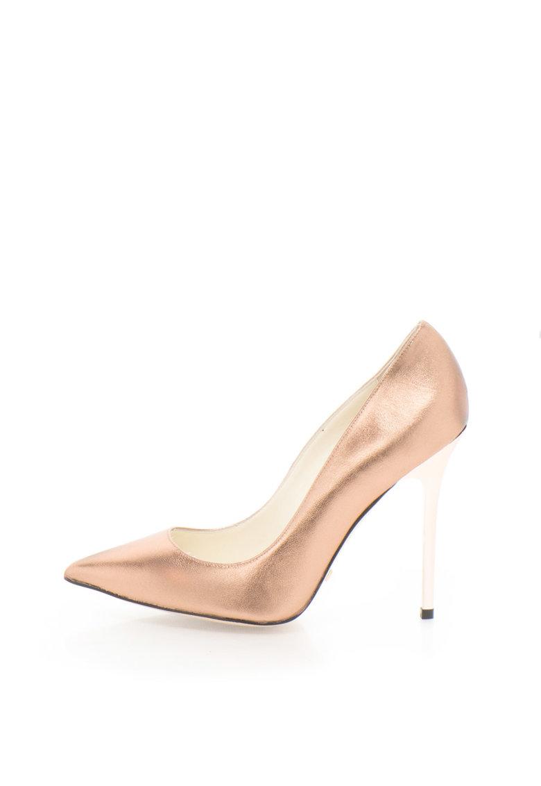 Buffalo Pantofi stiletto auriu rose de piele
