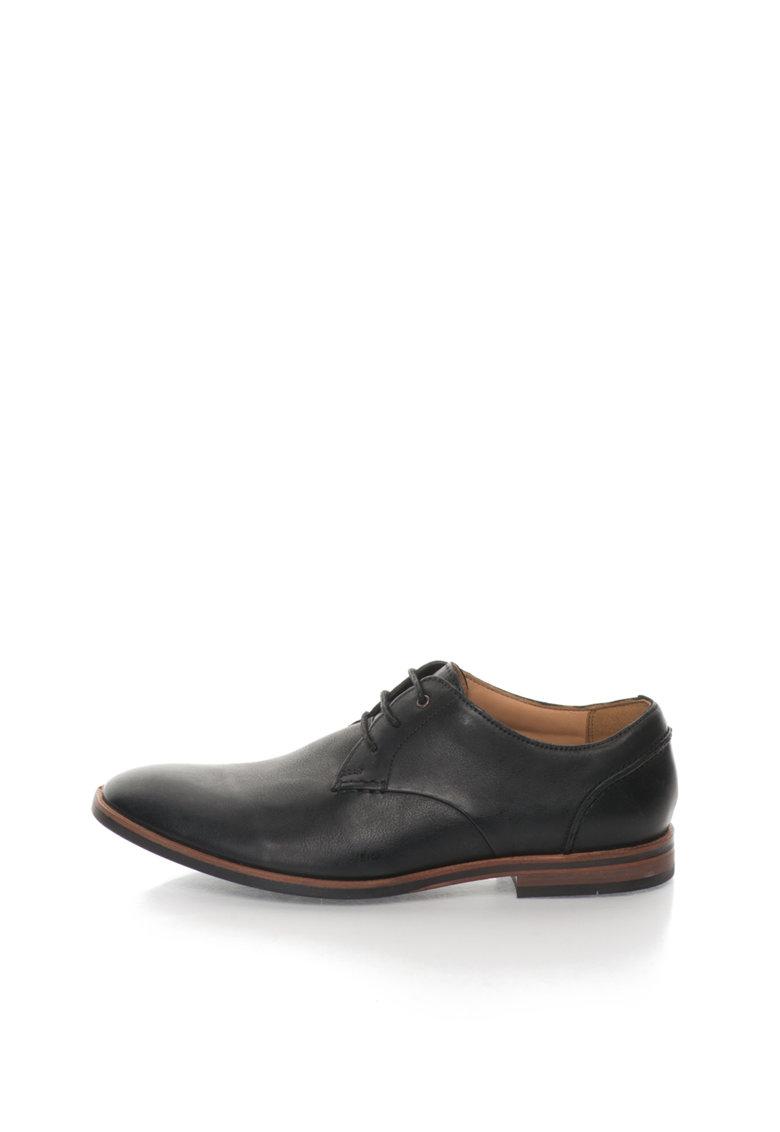 Clarks Pantofi negri de piele Broyd Walk