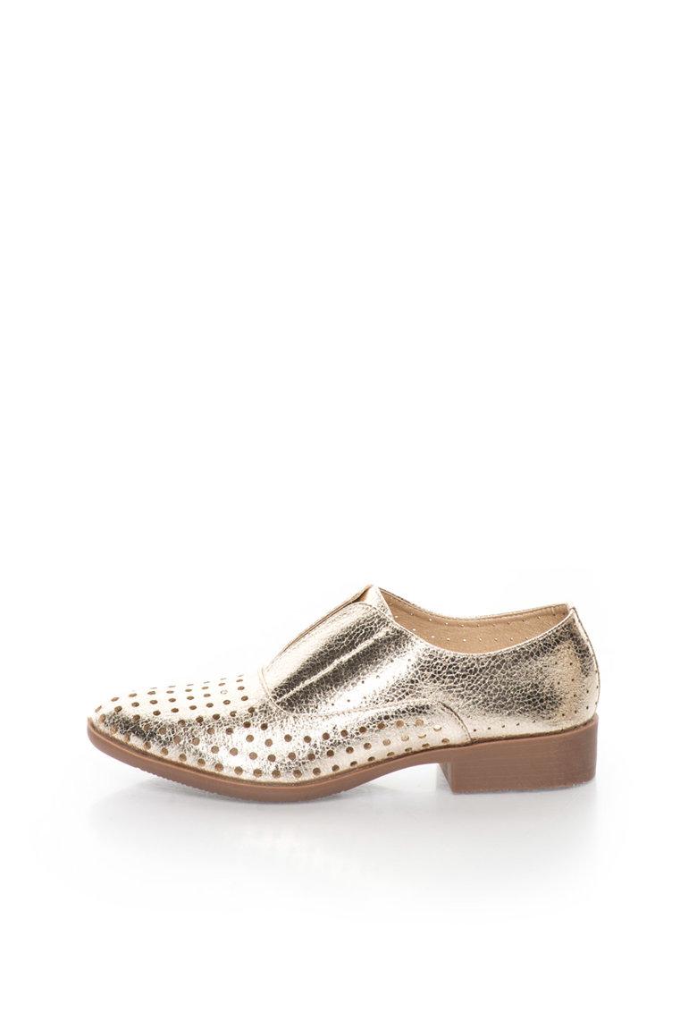 Francesco Milano Pantofi slip-on aurii cu model perforat